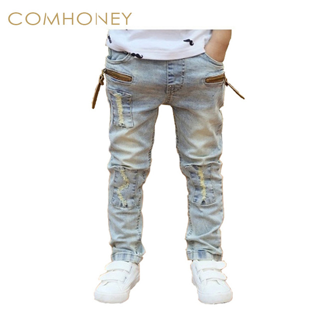 8145d6879ad153 Ripped jeans voor kids peuter jeans baby jongens ripped denim jeans  kinderen mode jeans voor jongens