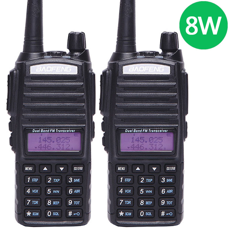 2PCS Baofeng UV 82 Plus 10KM Long Range 8W Powerful 8Watts Walkie Talkie two way cb