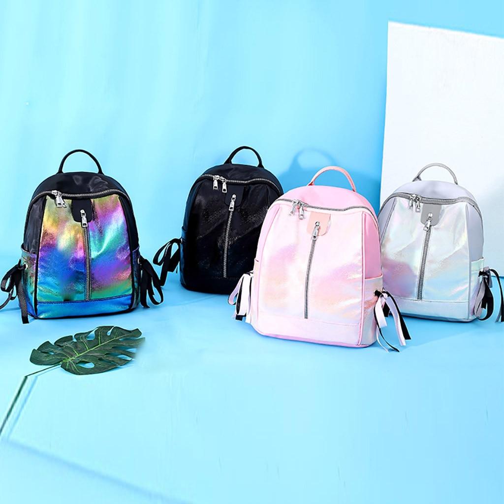 Women Laser Backpack School Hologram Student School Bags For Teenage Girls holographic sac a dos black pink sliver mochila 2019