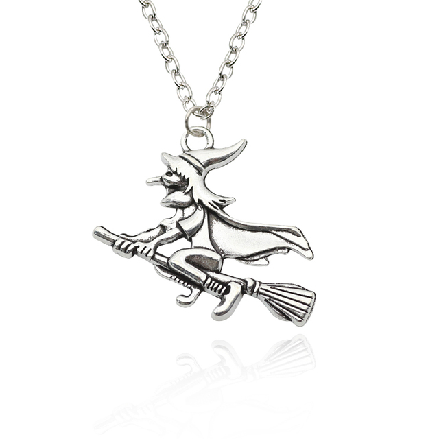 Hot sell retro witch riding broom pendant necklace personalized hot sell retro witch riding broom pendant necklace personalized fairy tale alloy neutral pendant ornaments halloween mozeypictures Images