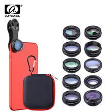 APEXEL 10in1 Kit dobjectif de caméra de téléphone Fisheye grand Angle Macro 2X lentille de télescope pour iphone huawei samsung galaxy android celphones