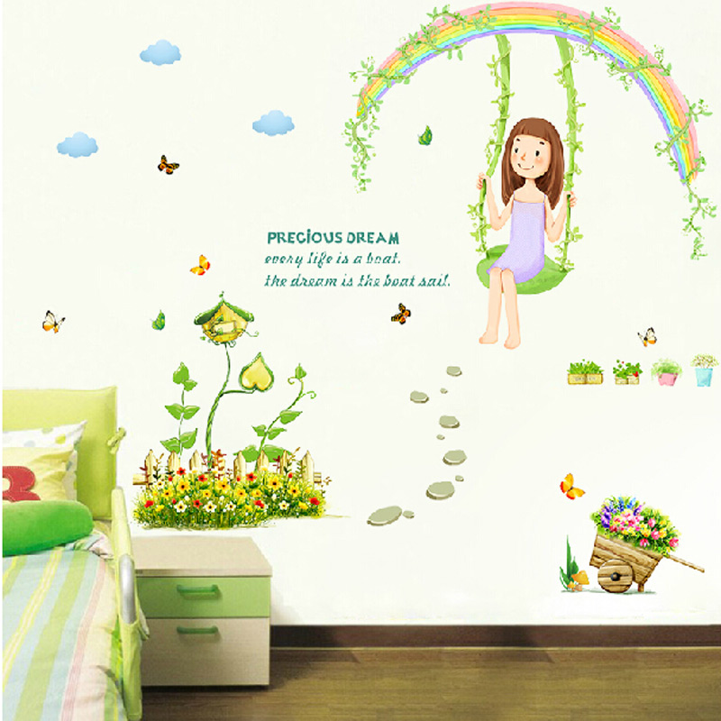 vinilo pared wall decor wallpaper diy rural countryside scenery cartoon rainbow flowers butterfly wall sticker