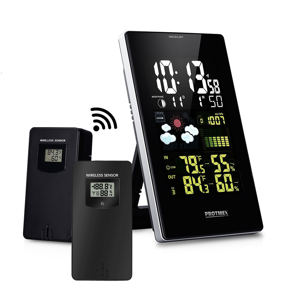 Wireless Weather Station 3352C Digital Weather Forecast Station Hygrometer LCD Color Display With 2 pcs Outdoor