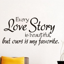 Wall Stickers Home Decor Every Love Story Is Beautiful Quote Decal Bedroom Living Room DIY Removable Creative Art Mural