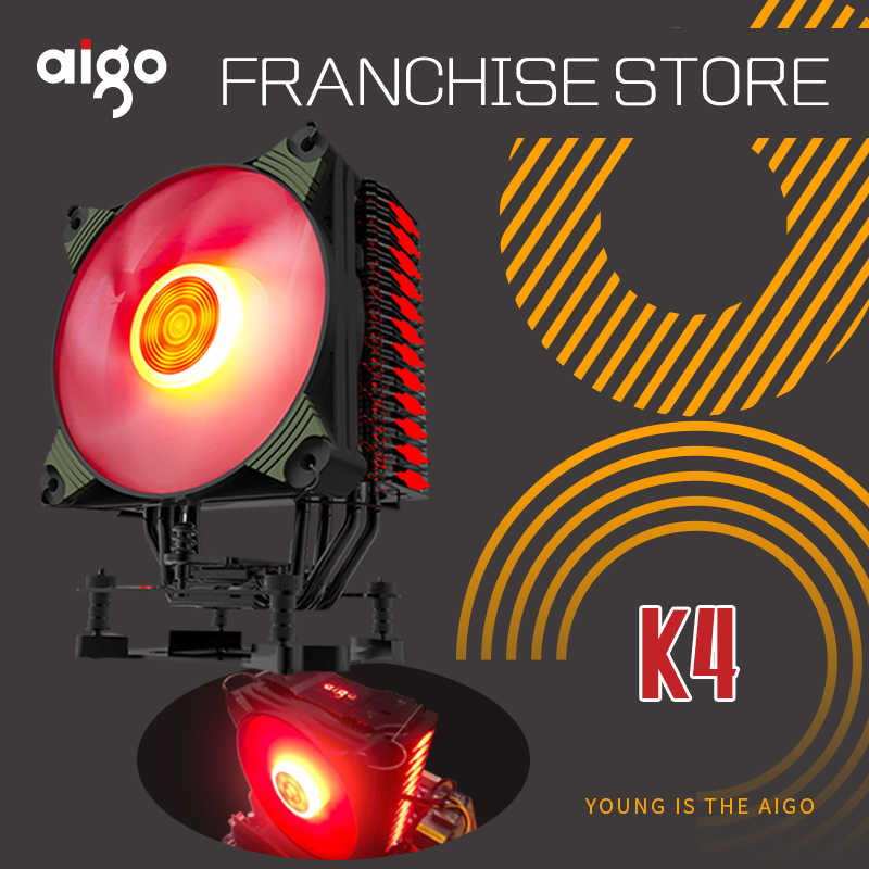 Aigo K4 RGB Led CPU Kühler Fan Kühlkörper Kühler 120mm Silent PC Lüfter hohe qualität Intel AMD 12 V CPU Fan Unterstützung jede CPU