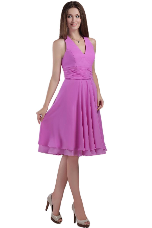 Lilac Halter Neckline Chiffon Knee Length Bridesmaid Dress Wedding Guest Marsala In From Weddings Events On Aliexpress