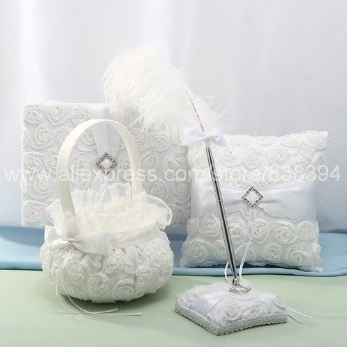 Wedding Ceremony Accessories Flower Basket White Guest Book Pen Set Ring Pillow Holder Free