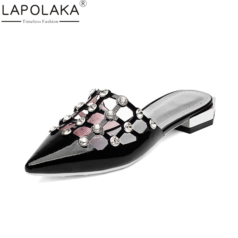 LAPOLAKA 2018 Cow Leather Pointed Toe Woman Slipper Shoes Woman Chunky Low Heel Shallow Casual Summer Slippers Size 34-39 ribetrini women hot sale cow leather low heel wedges summer casual shoes woman ankle strap open toe platform sandals size 34 39