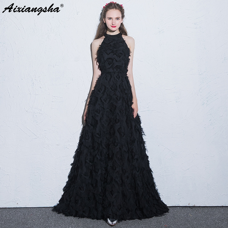 Cheap Black Evening Dress 2018 O-Neck Sleeveless A-Line Long Evening ...
