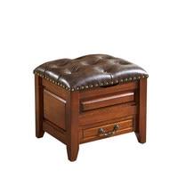 Европейский и американский стиль стул дома твердой древесины кожаный диван кофе стол стул маленькие дети изменить обувь