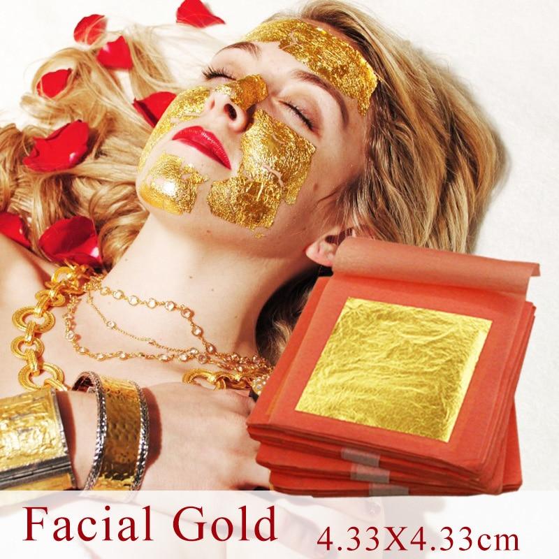 Hot Selling 100 Pcs 99.9% Genuine Gold Leaf ,real Gold Foil ,real 24K Facial Gold Mask, Nanometre Grade, 4.33X4.33cm, Good Item