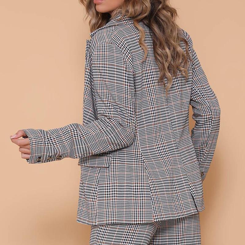 Ynzzu Style Fashion Ol Sleeve Plaid 2018 Feminino Blazer Blazers Gray Long Yo643 Autumn Women Elegant Coat England 5ErqxwvPE