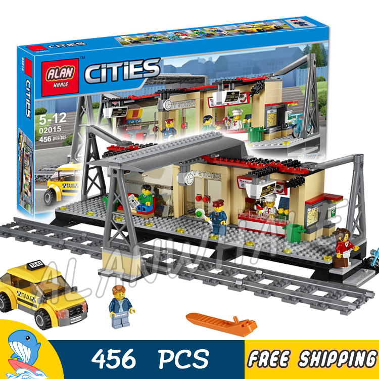 456pcs Trains Series City Classical Train Station Model Building Blocks 02015 Assemble Bricks Children Toys Compatible With Lego 965pcs city police station model building blocks 02020 assemble bricks children toys movie construction set compatible with lego