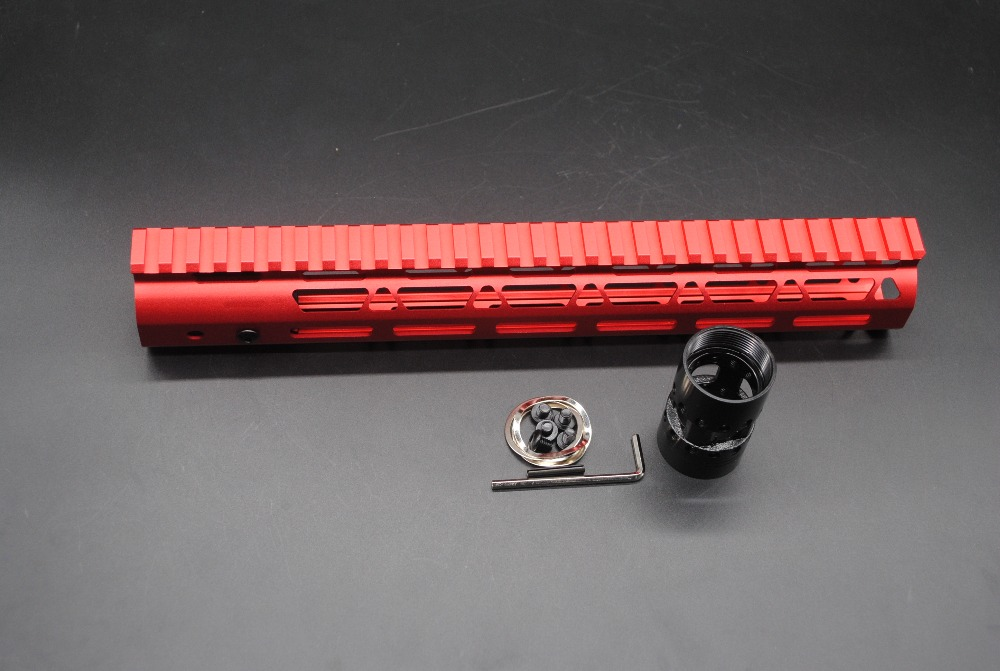 TriRock 12'' inch Ultralight M-lok Handguard Rail Free Floating Mount System Red Anodized .223/5.56 Rifle  Free Shipping unique chinese red 13 5 ultralight key mod handguard rail mount with steel barrel nut 3 pcs rail section