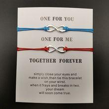 2Pcs Forever Love Heart Distance Handmade Weave Bracelet Lucky Couple Jewelry Gift
