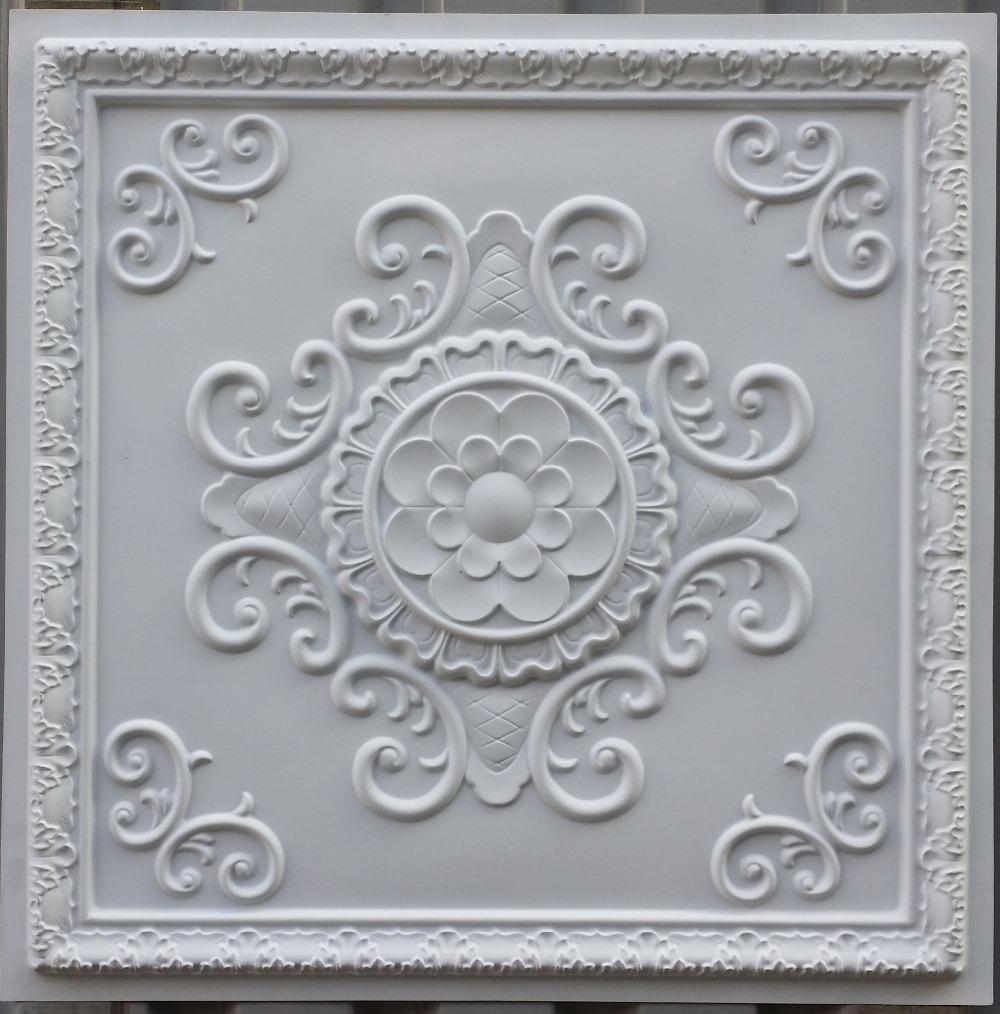 pl08 faux tin ceiling tiles white matt color three dimentional 3d decorative ceiling board panels decorative films from home u0026 garden on - Decorative Ceiling Tiles