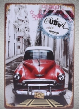 1 pc Cuba Car USA impala red Antique Tin Plate Sign wall plaques Man cave vintage Dropshipping metal Poster