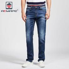 AEMAPE Mens Slim Fit Jeans Washed Denim Pants Deep Blue Brand Trousers for Man Size 29-40 #W17011