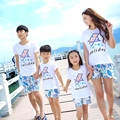 Free Shipping Summer New family matching clothes outfits Holiday printing mother daughter father son kids sets t shirt Pants