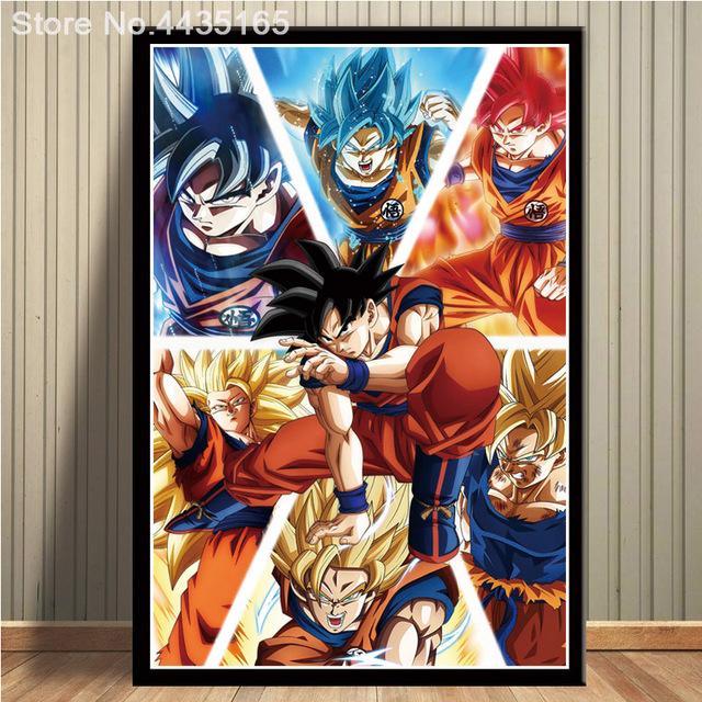 Posters And Prints Dragon Ball Art Vegeta Z Super Saiyan Painting Goku Poster Home Deco