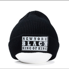 Europe labeling Female Hip-Hop Patch Letters Hair Ball Knitted Hat Skullies Knitted Touca Gorro Caps For Women Beanie