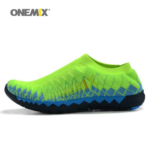 2016 Onemix мужская ткачество верхней кроссовки спорт кроссовки портативные крытый обувь для мужчин воздухопроницаемой сеткой кроссовки