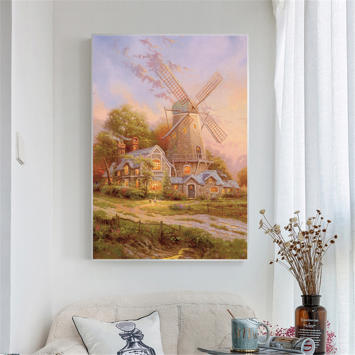 Home Decor Abstract Oil Painting Stone House Windmill