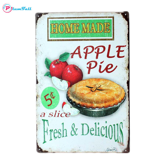 Home Made Apple Pie Vintage Metal Signs Home Decor Metal Posters Bar Tin  Sign Kitchen Pub