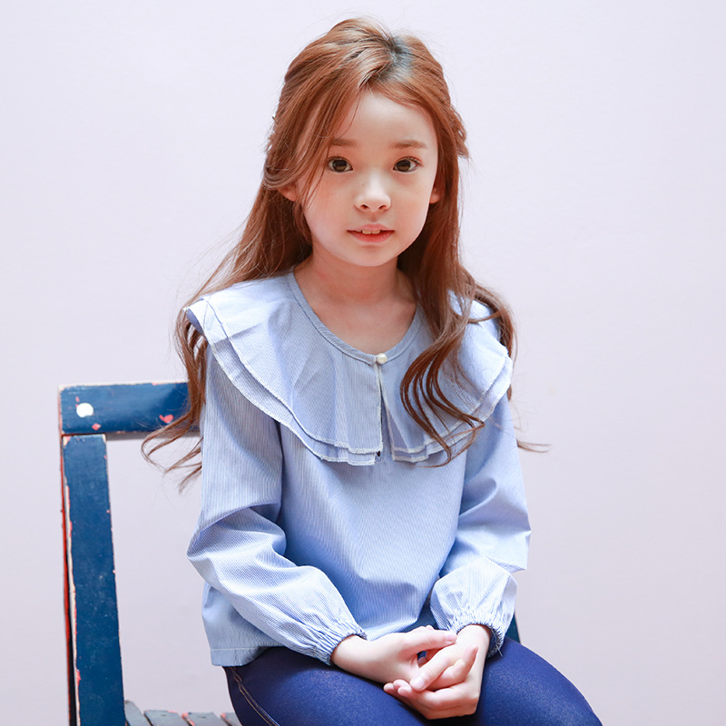 f4bd4a2d89 2017 primavera moda marca coreana Ropa femenina de bebé lindo manga larga  colmena grande collar camisas princess0 blusa Tops ropa