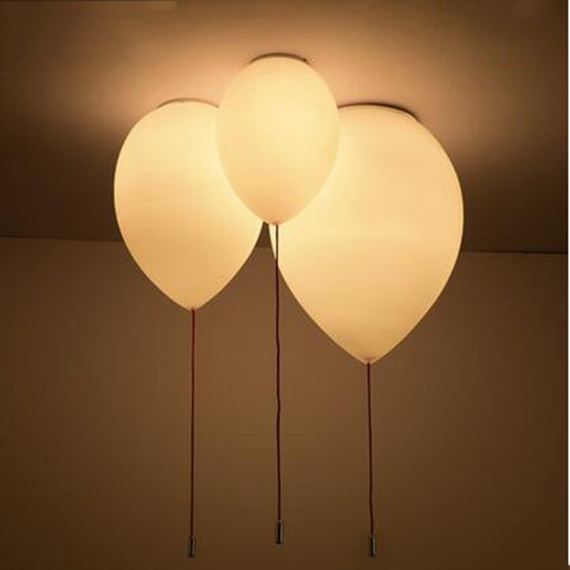 modern contemporary kids bedroom balloon celing lights creative white fashion ceiling lamp e27. Black Bedroom Furniture Sets. Home Design Ideas
