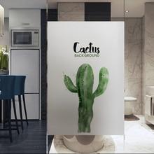 Window Films cactus sticker window glass film Static electricity transparent opaque Bathroom frost toilet