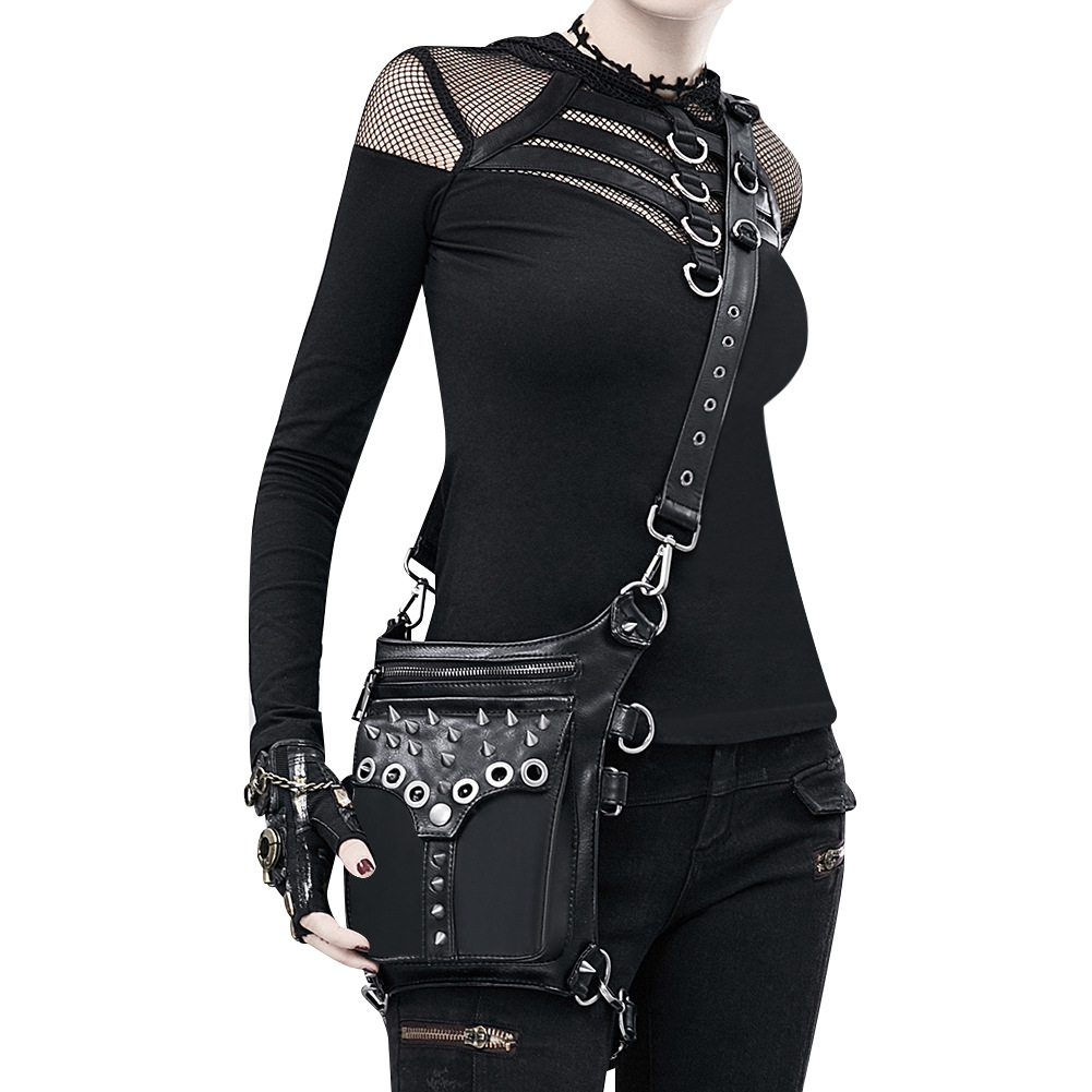 LXFZQ NEW PU fanny pack money belt sac banane a hip bag waist bag female men's leather belt bum bag Steam punk Holster Protected