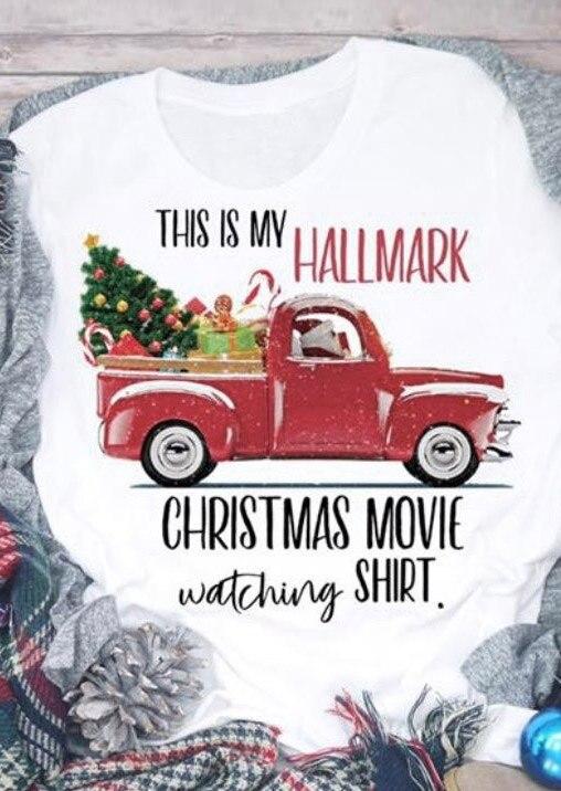 2019 New Hallmark Christmas Movie Watching Shirt T-Shirt Tee O-Neck Fashion Autumn Tops Casual T Shirt Tops Christmas Gift