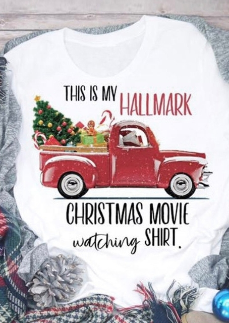 2018 New Hallmark Christmas Movie Watching Shirt T-Shirt Tee O-Neck Fashion Autumn Tops Casual T Shirt Tops Christmas Gift