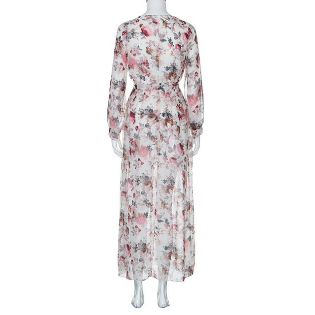 Summer maxi dress Women 2019  Boho Dresses V Neck Long Sleeve Chiffon Floral Long Maxi Evening Party Dress vestidos /M 8
