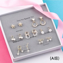 SHEON 7 Pairs/set A Week Earrings 2019 Fashion Simple 925 Silver Stud Set Bowknot Heart Earring Girls Women Jewelry