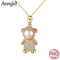 Lovely Little Bear Freshwater Pearl Pendant Necklace High Quality Box Chain Necklace For Girls Party Animal