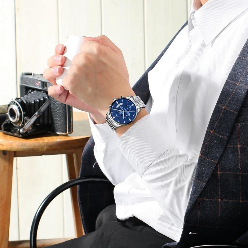 NIBOSI Men Watch Chronograph Sport Mens Watches Top Brand Luxury Waterproof Full Steel Quartz Gold Clock Men Relogio Masculino 4