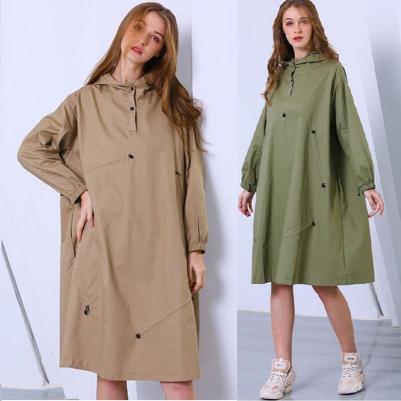 Printemps femme mode lâche coton robe mi-longue cordon confortable décontracté vestido grande taille street wear jurken long à capuche haut
