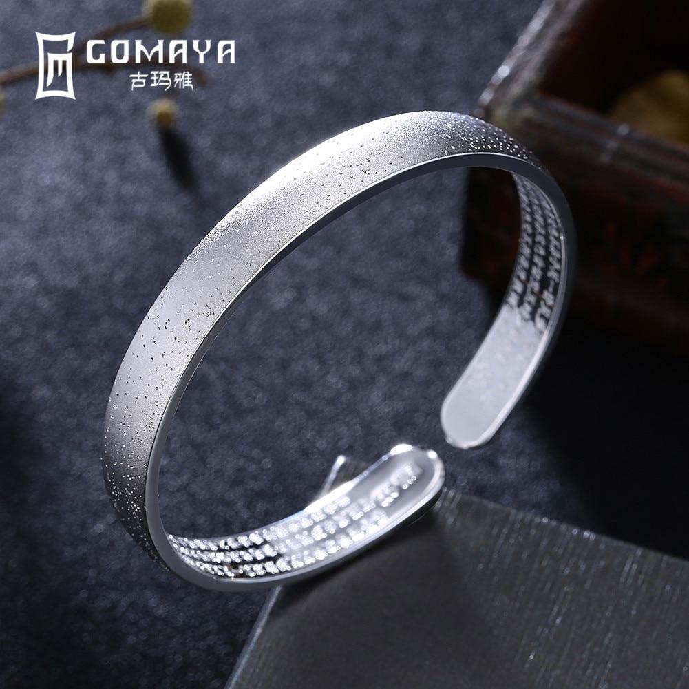 GOMAYA 999 Sterling Silver Bangles Luxury Design Gift for Women Girls Cuff Bracelets Antique Fine Jewelry Adjustable