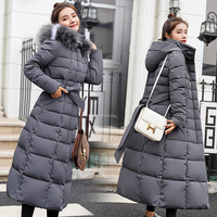 S 3XL Winter New Women Casual Cotton Down Jacket Hoodie Long Parkas Fur Collar Clothes Warm Female Winter Coat 017 902KY1