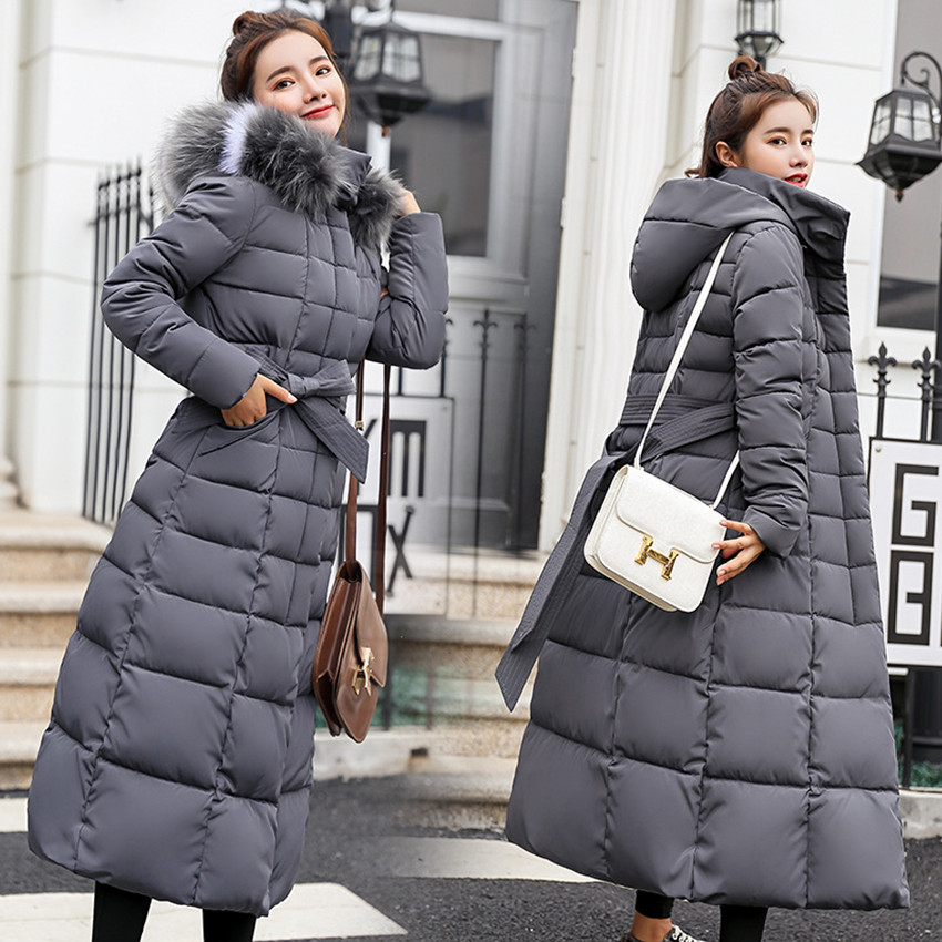 S-3XL Winter New Women Casual Cotton Down Jacket Hoodie Long Parkas Fur Collar Clothes Warm Female Winter Coat 017-902KY1