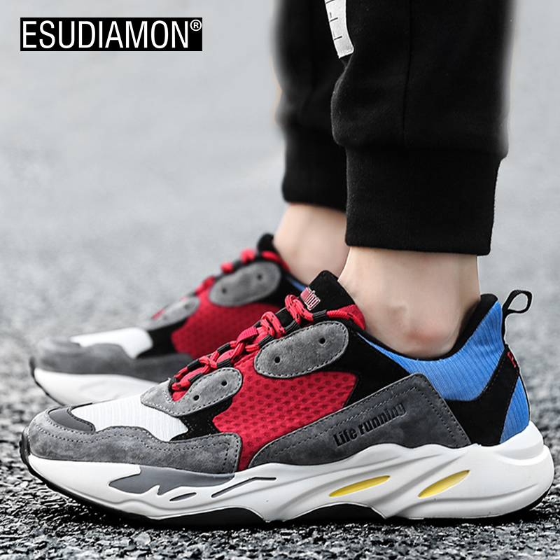 ESUDIAMON NEW Retro Men Casual Shoes Fashion Luxury Brand Lightweight Breathable Mesh Walking Footwear Lace-Up Zapatillas Hombre high quality men casual shoes fashion lace up air mesh shoe men s 2017 autumn design breathable lightweight walking shoes e62