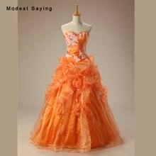 Cosecha de Naranja y Marfil vestido de Bola Del Cordón Vestidos de Noche 2017 con Volantes de La Falda de Las Mujeres Formales Del Partido Prom Vestidos robe de soiree