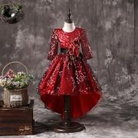 Kids Flower Girls Wedding Party Dresses For Girl Princess Dress Children Christmas Dress For Girls Costume 8 10 11 12Y wine Red