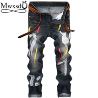 Mwxsd Brand Casual Men S Hole Paint Jeans Men Cotton Retro Destroyed Jeans Male Skinny Straight