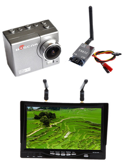 RC732-DVR 7 Inch 800*480 HD LCD FPV Monitor Built-in Battery + HD08A 1080p Sports Camera + TS832 5.8g 600mw Transmitter