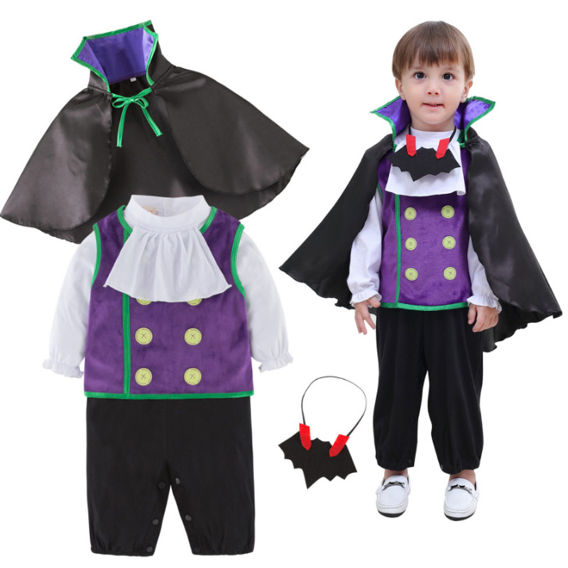 Halloween Baby Boys Cosplay Bat Vampire Costume Jumpsuits Kid Bat Vampire Set Costumes Christmas Birthday New Year Party Clothes