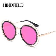 HINDFIELD Oversize Ronda Vendimia gafas de Sol Mujeres Diseñador de la Marca 2017 Steam punk gafas de Sol Femeninas gafas de sol mujer de Lujo