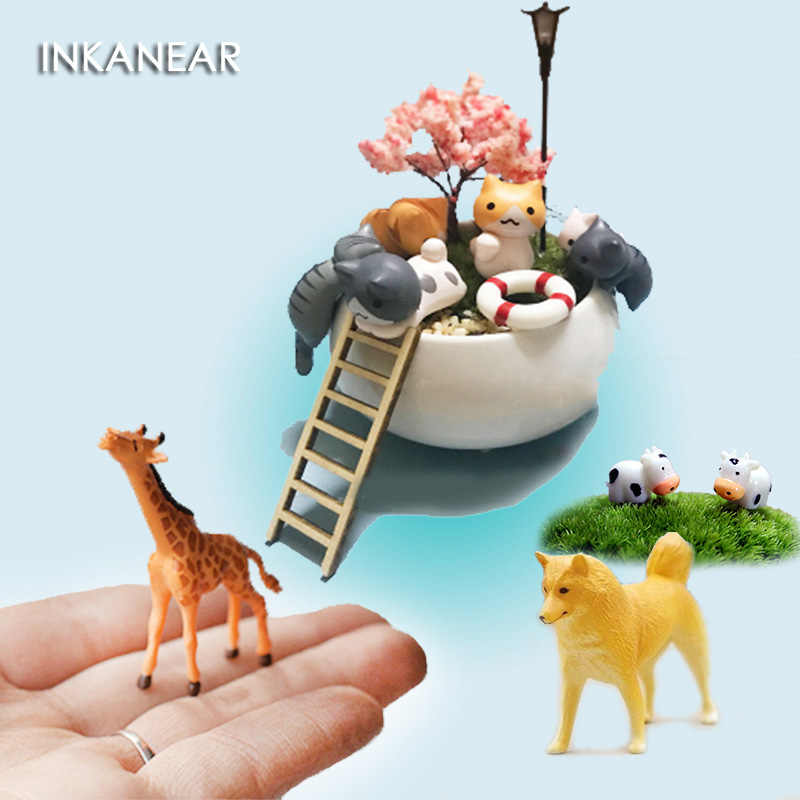 Kawaii Duck Cat Hedgehog Animal Micro Fairy Garden Miniature/Terrarium Ornaments DIY Accessories Bonsai Decoration Resin Crafts